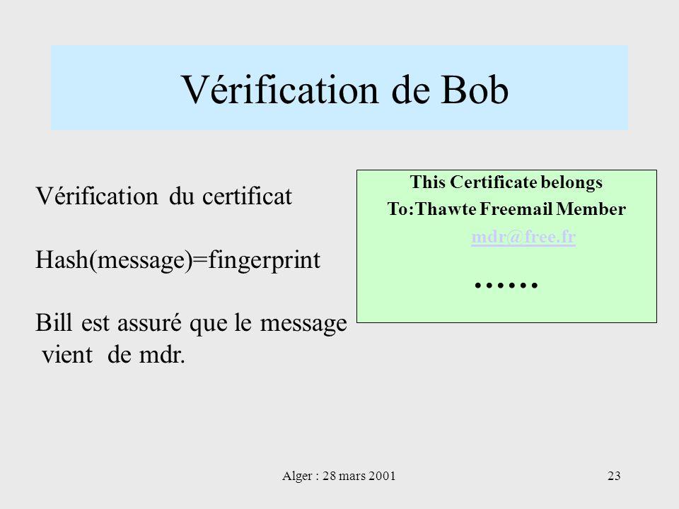 Alger : 28 mars 200123 Vérification de Bob Vérification du certificat Hash(message)=fingerprint Bill est assuré que le message vient de mdr. This Cert