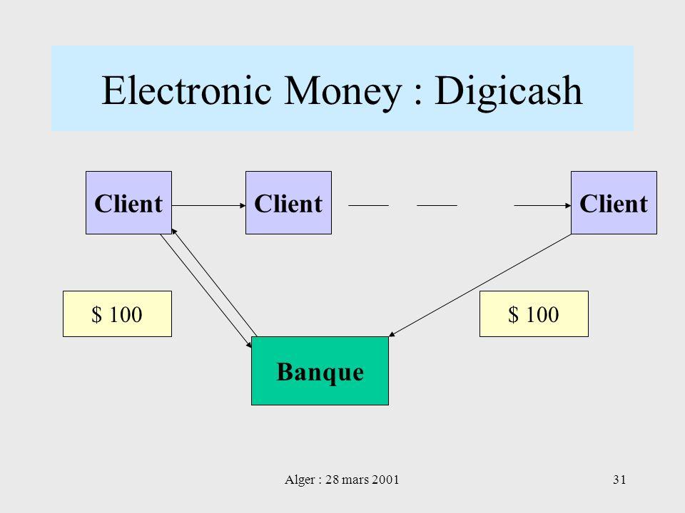 Alger : 28 mars 200131 Electronic Money : Digicash Client Banque Client $ 100