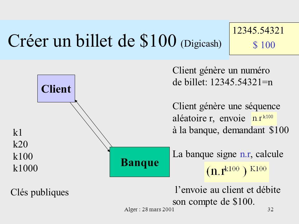 Alger : 28 mars 200132 Créer un billet de $100 (Digicash) Client Banque $ 100 12345.54321 k1 k20 k100 k1000 Clés publiques Client génère un numéro de