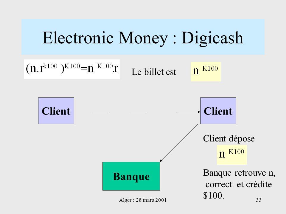 Alger : 28 mars 200133 Electronic Money : Digicash Client Banque Client Le billet est Client dépose Banque retrouve n, correct et crédite $100.