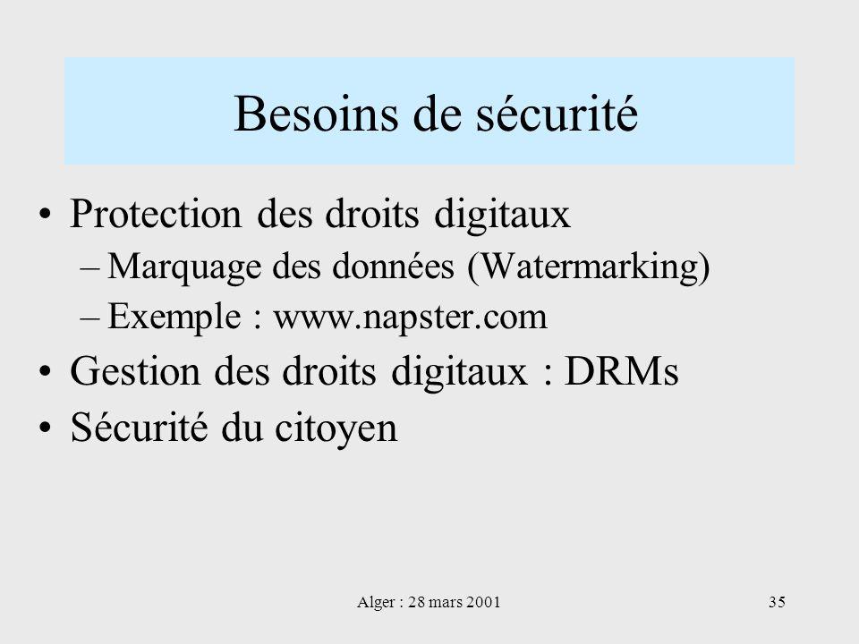 Alger : 28 mars 200135 Besoins de sécurité Protection des droits digitaux –Marquage des données (Watermarking) –Exemple : www.napster.com Gestion des