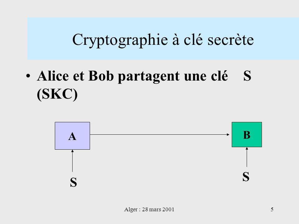 Alger : 28 mars 20015 Cryptographie à clé secrète Alice et Bob partagent une clé S (SKC) A B S S