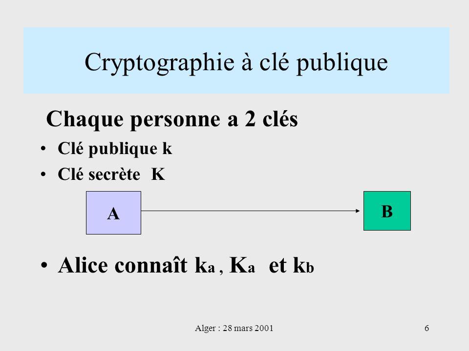 Alger : 28 mars 20016 Cryptographie à clé publique Chaque personne a 2 clés Clé publique k Clé secrète K Alice connaît k a, K a et k b A B