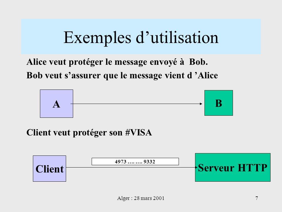 Alger : 28 mars 20017 Exemples dutilisation Client Serveur HTTP Client veut protéger son #VISA 4973 …. …. 9332 A B Alice veut protéger le message envo