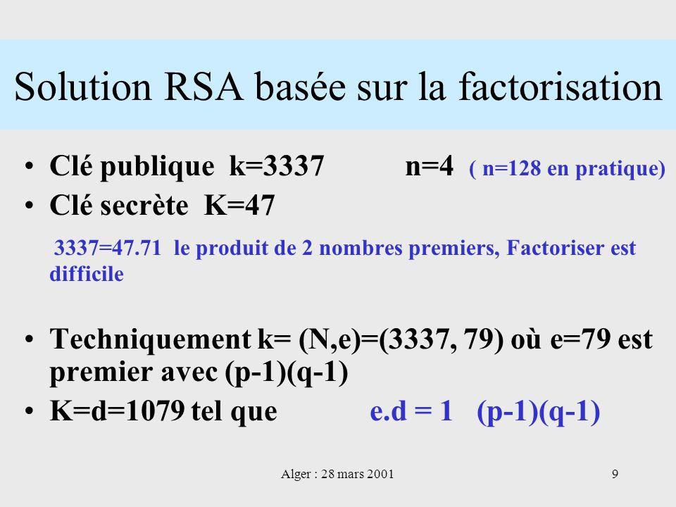 Alger : 28 mars 20019 Solution RSA basée sur la factorisation Clé publique k=3337 n=4 ( n=128 en pratique) Clé secrète K=47 3337=47.71 le produit de 2