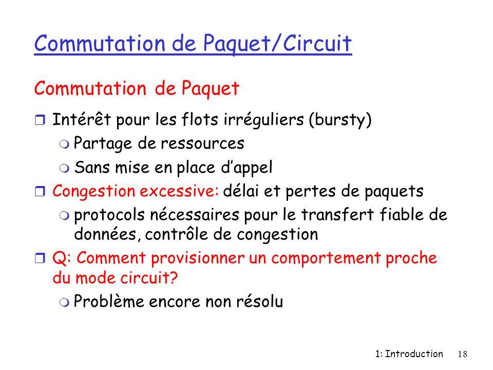 1: Introduction18 Commutation de Paquet/Circuit r Intérêt pour les flots irréguliers (bursty) m Partage de ressources m Sans mise en place dappel r Co