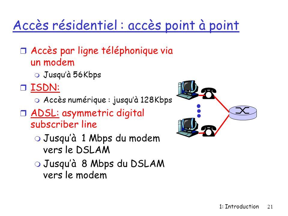 1: Introduction21 Accès résidentiel : accès point à point r Accès par ligne téléphonique via un modem m Jusquà 56Kbps r ISDN: m Accès numérique : jusq