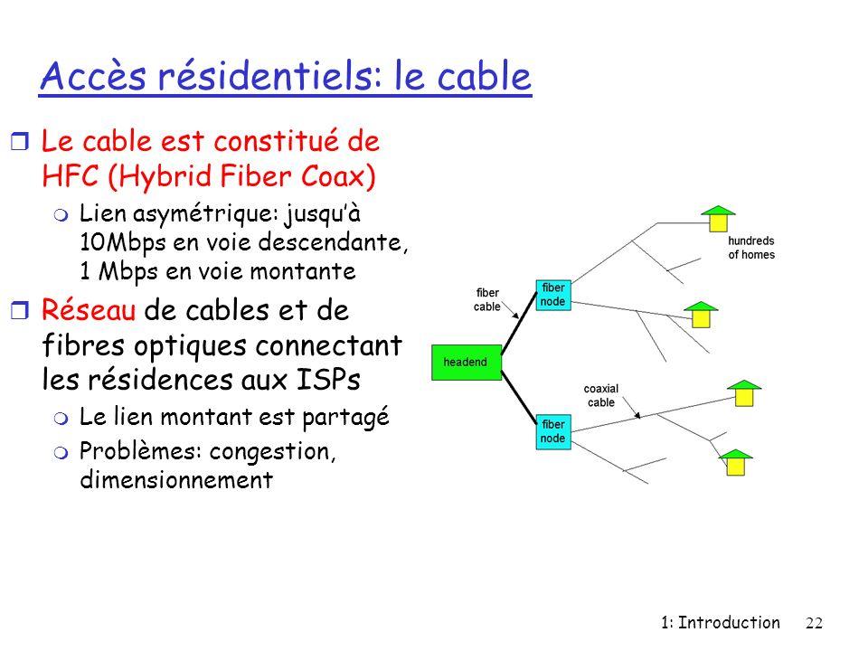 1: Introduction22 Accès résidentiels: le cable r Le cable est constitué de HFC (Hybrid Fiber Coax) m Lien asymétrique: jusquà 10Mbps en voie descendan