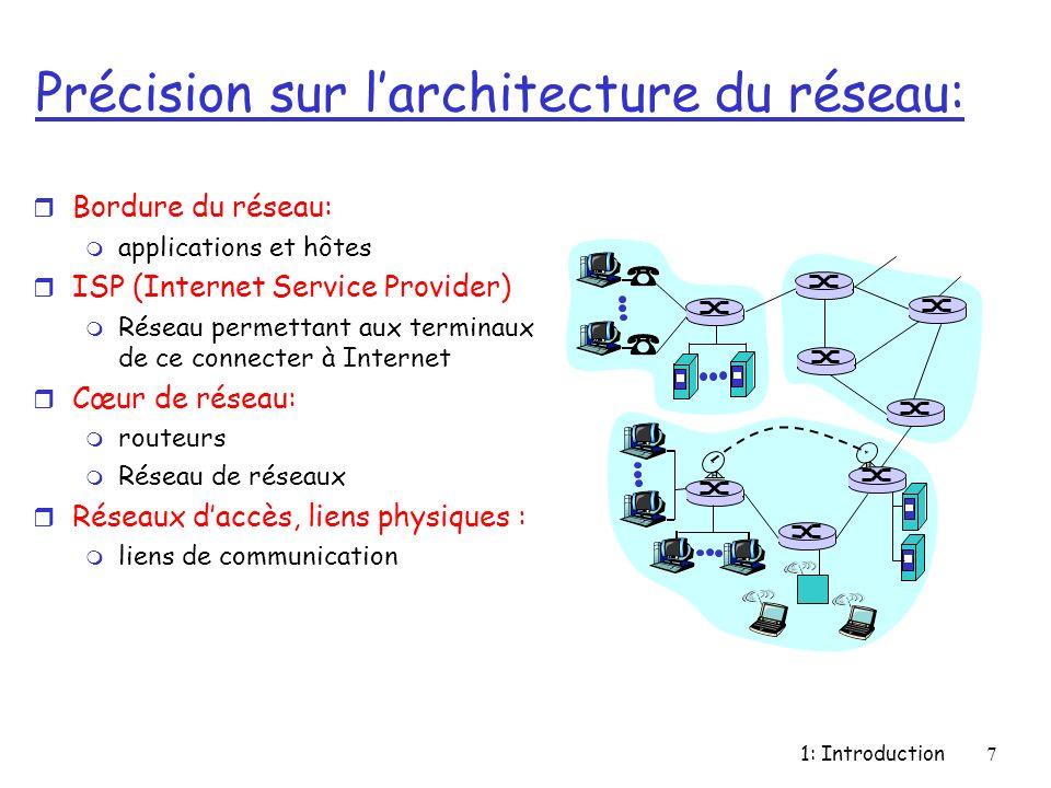 1: Introduction8 Bordure du réseau: r Terminaux (hôtes): m Éxecute des applications m e.g., WWW, email m au bord du réseau r Modèle client/serveur m Le client demande (requiert), le serveur rend un service m e.g., WWW client (browser)/ serveur; email client/serveur r Modèle peer-peer: m Interaction symétrique entre les hôtes m e.g.: visioconférence