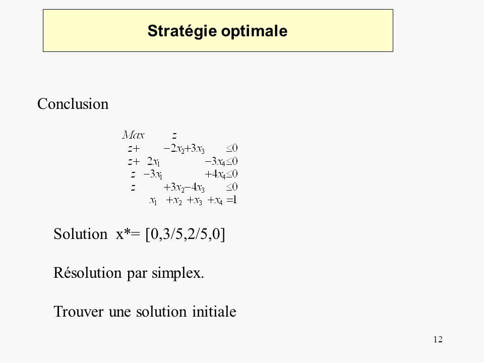 12 Stratégie optimale Conclusion Solution x*= [0,3/5,2/5,0] Résolution par simplex. Trouver une solution initiale