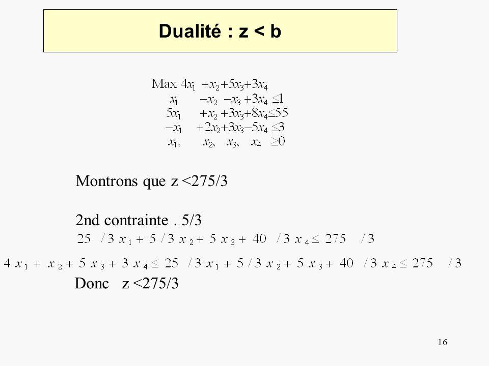 16 Dualité : z < b Montrons que z <275/3 2nd contrainte. 5/3 Donc z <275/3