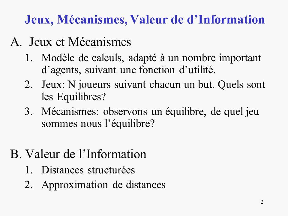 2 A. Jeux et Mécanismes 1.Modèle de calculs, adapté à un nombre important dagents, suivant une fonction dutilité. 2.Jeux: N joueurs suivant chacun un