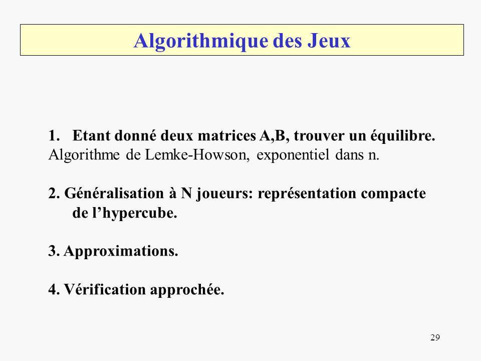 29 Algorithmique des Jeux 1.Etant donné deux matrices A,B, trouver un équilibre. Algorithme de Lemke-Howson, exponentiel dans n. 2. Généralisation à N