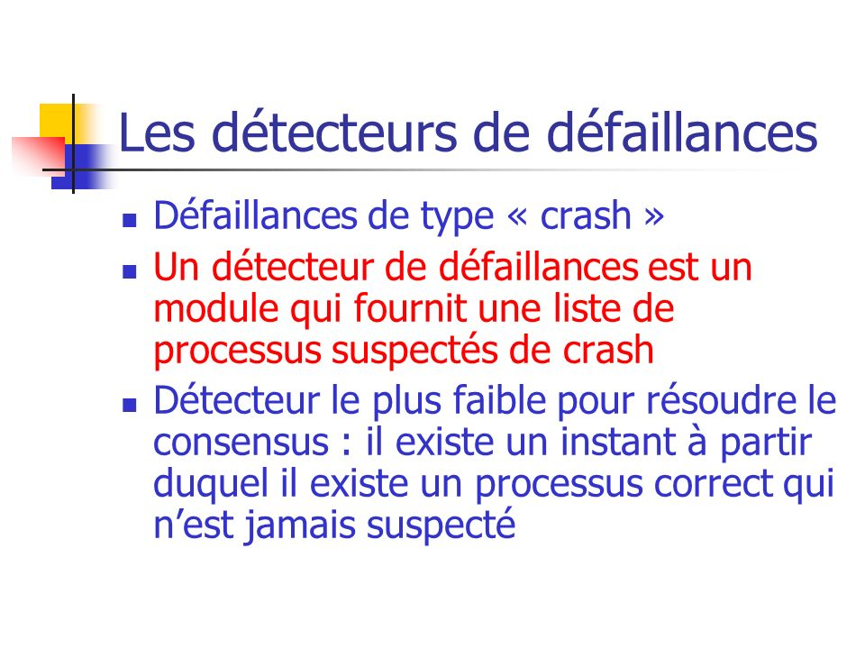 Les détecteurs de défaillances Chandra et Toueg (1996) Réseau Oracle P en panne? Peut- être!