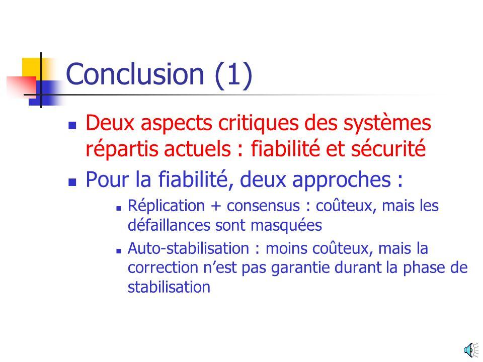 Avantages de lauto- stabilisation (2) Pas de diffusions coûteuses Solutions à mémoire bornée Solutions time-adaptive Technique éprouvée et incontournable La formalisation permet dobtenir des outils génériques qui simplifient la programmation