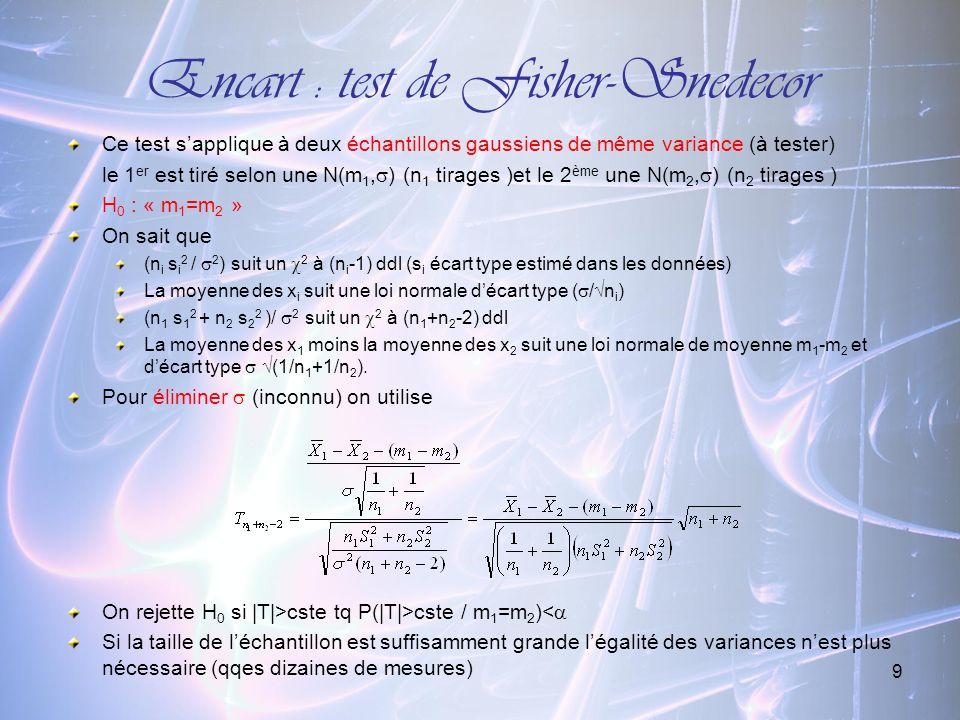 9 Encart : test de Fisher-Snedecor Ce test sapplique à deux échantillons gaussiens de même variance (à tester) le 1 er est tiré selon une N(m 1, ) (n