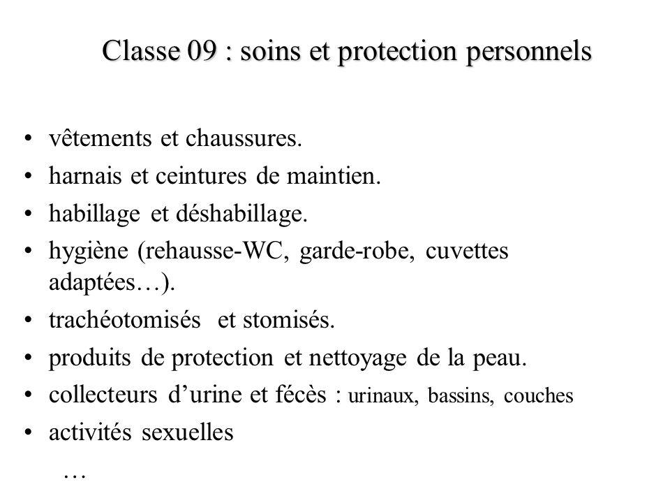 Classe 09 : soins et protection personnels vêtements et chaussures. harnais et ceintures de maintien. habillage et déshabillage. hygiène (rehausse-WC,