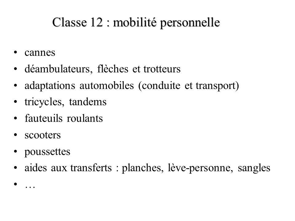 Classe 12 : mobilité personnelle cannes déambulateurs, flèches et trotteurs adaptations automobiles (conduite et transport) tricycles, tandems fauteui