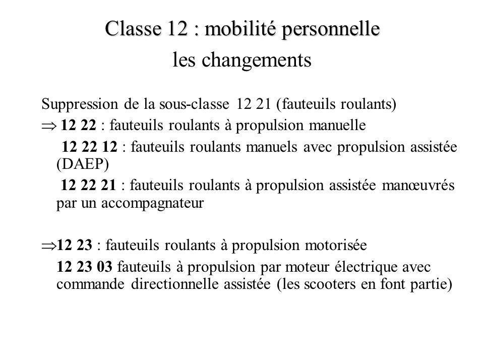 Suppression de la sous-classe 12 21 (fauteuils roulants) 12 22 : fauteuils roulants à propulsion manuelle 12 22 12 : fauteuils roulants manuels avec p