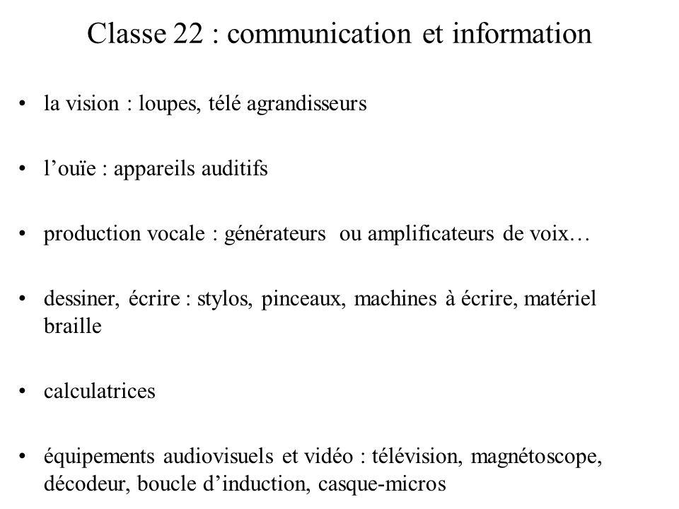 Classe 22 : communication et information la vision : loupes, télé agrandisseurs louïe : appareils auditifs production vocale : générateurs ou amplific