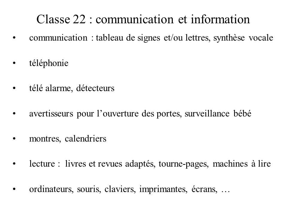 Classe 22 : communication et information communication : tableau de signes et/ou lettres, synthèse vocale téléphonie télé alarme, détecteurs avertisse