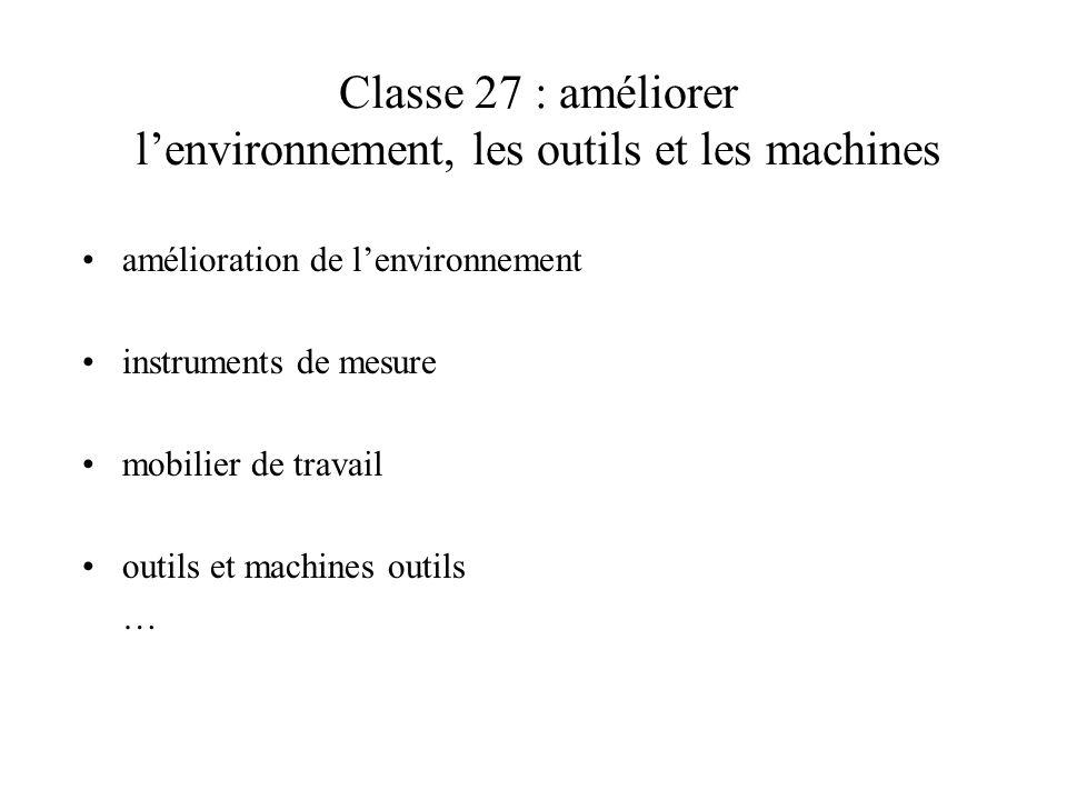Classe 27 : améliorer lenvironnement, les outils et les machines amélioration de lenvironnement instruments de mesure mobilier de travail outils et ma