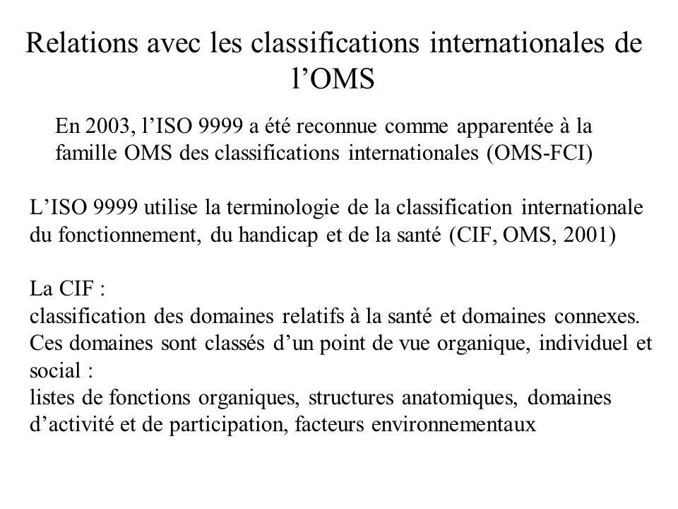 Relations avec les classifications internationales de lOMS En 2003, lISO 9999 a été reconnue comme apparentée à la famille OMS des classifications int