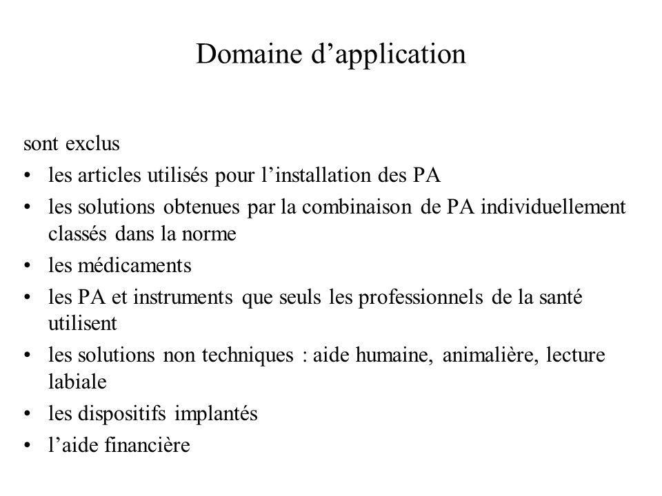 Domaine dapplication sont exclus les articles utilisés pour linstallation des PA les solutions obtenues par la combinaison de PA individuellement clas