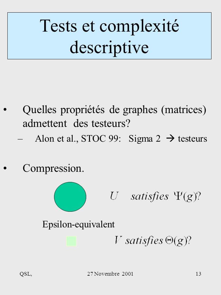 QSL,27 Novembre 200113 Quelles propriétés de graphes (matrices) admettent des testeurs.