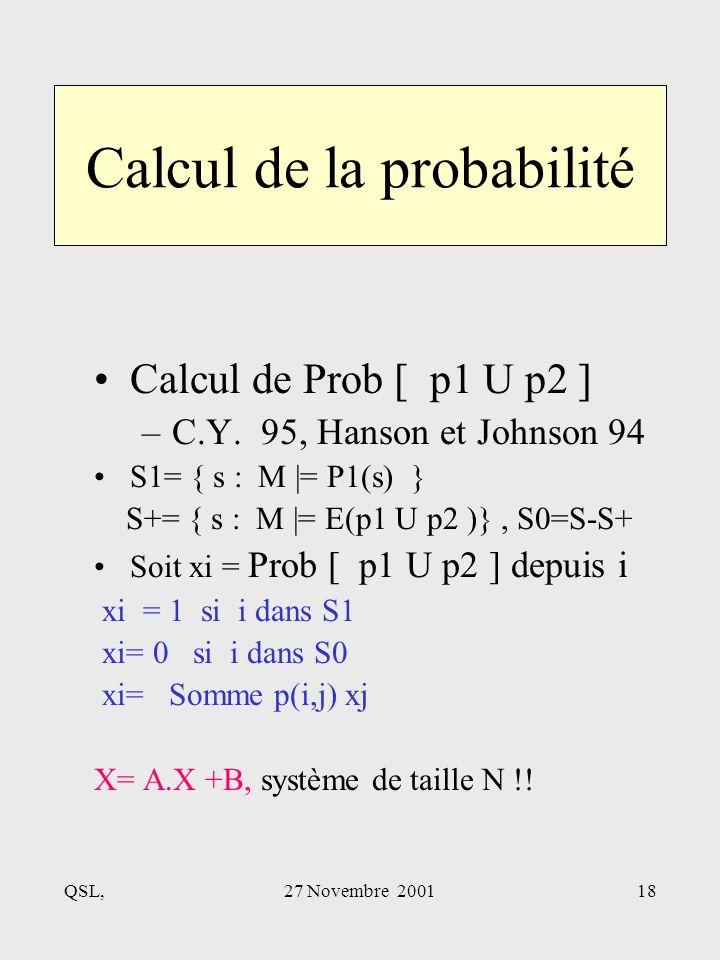 QSL,27 Novembre 200118 Calcul de la probabilité Calcul de Prob [ p1 U p2 ] –C.Y.