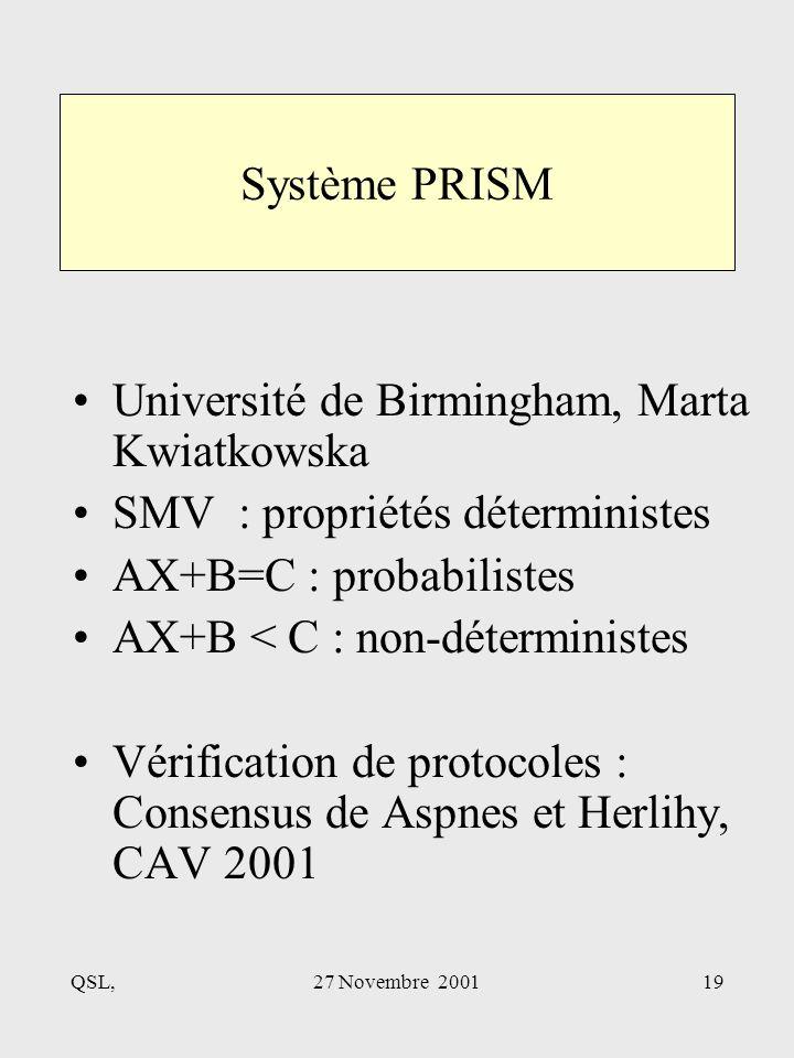 QSL,27 Novembre 200119 Système PRISM Université de Birmingham, Marta Kwiatkowska SMV : propriétés déterministes AX+B=C : probabilistes AX+B < C : non-déterministes Vérification de protocoles : Consensus de Aspnes et Herlihy, CAV 2001