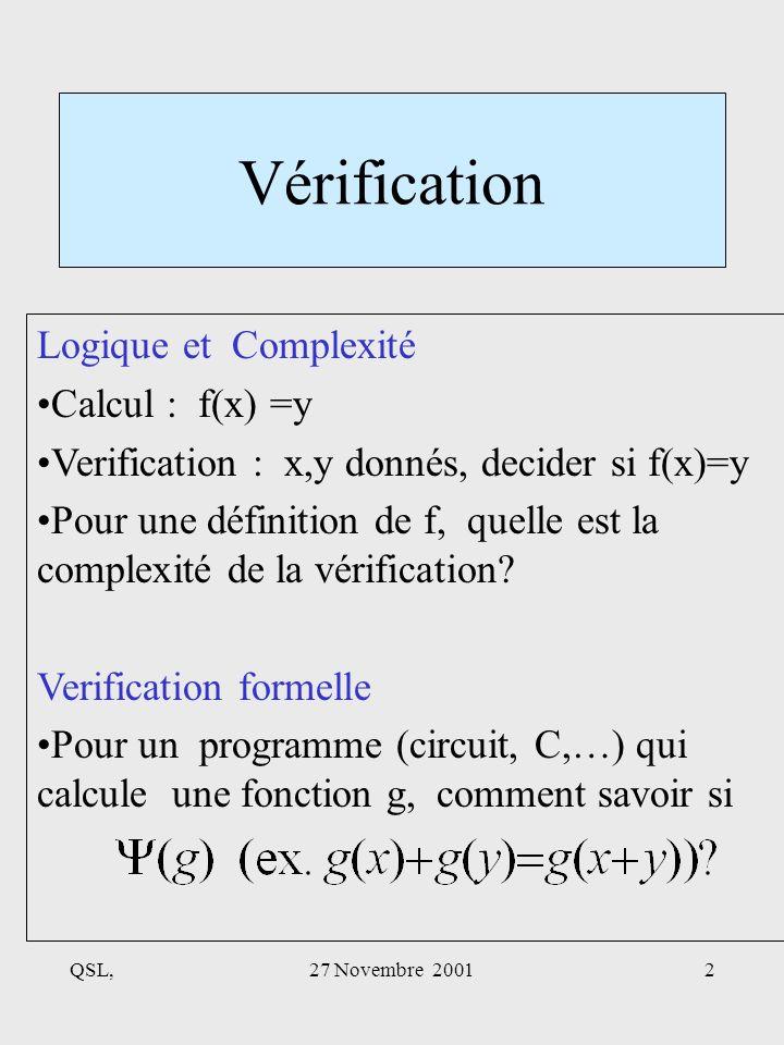 QSL,27 Novembre 20012 Vérification Logique et Complexité Calcul : f(x) =y Verification : x,y donnés, decider si f(x)=y Pour une définition de f, quelle est la complexité de la vérification.