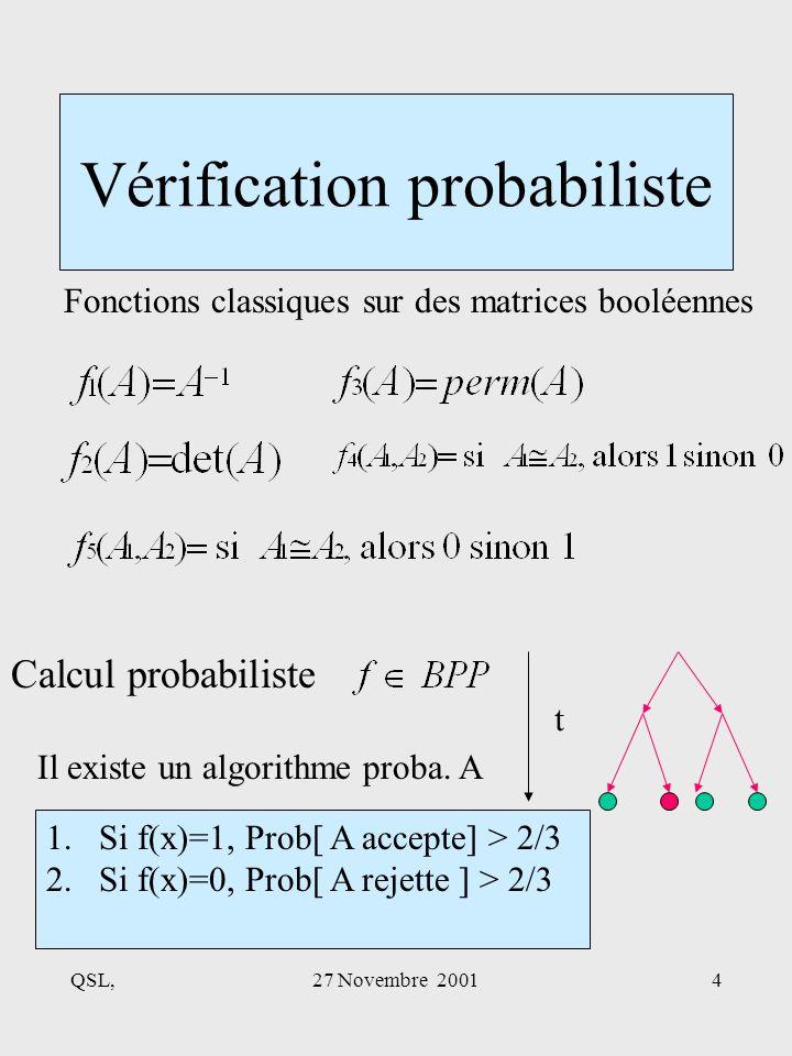 QSL,27 Novembre 20014 Vérification probabiliste Fonctions classiques sur des matrices booléennes Calcul probabiliste t Il existe un algorithme proba.