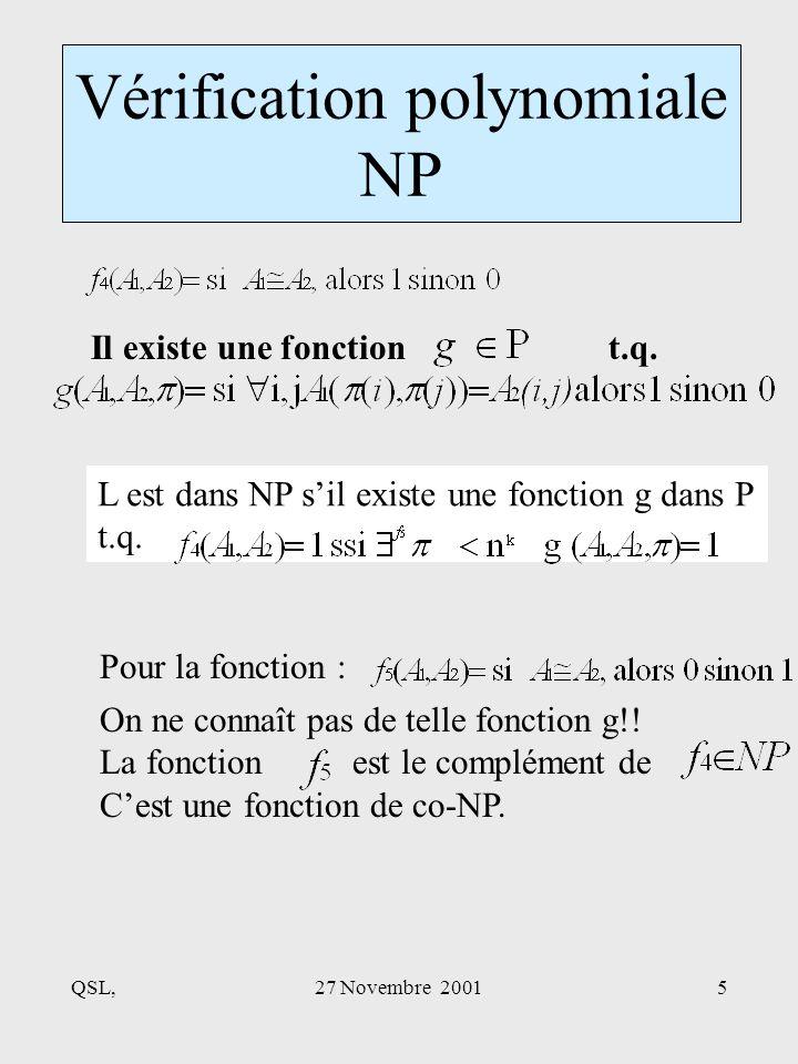 QSL,27 Novembre 20015 Vérification polynomiale NP Il existe une fonction t.q.