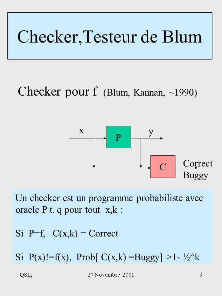 QSL,27 Novembre 20019 Checker,Testeur de Blum Checker pour f (Blum, Kannan, ~1990) P C x y Un checker est un programme probabiliste avec oracle P t.