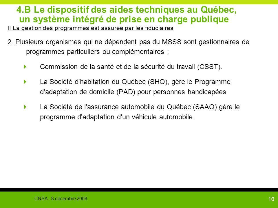 10 4.B Le dispositif des aides techniques au Québec, un système intégré de prise en charge publique II La gestion des programmes est assurée par les f