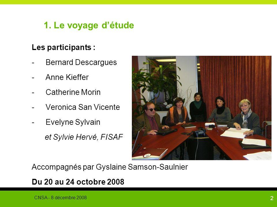 2 1. Le voyage détude Les participants : -Bernard Descargues -Anne Kieffer -Catherine Morin -Veronica San Vicente -Evelyne Sylvain et Sylvie Hervé, FI