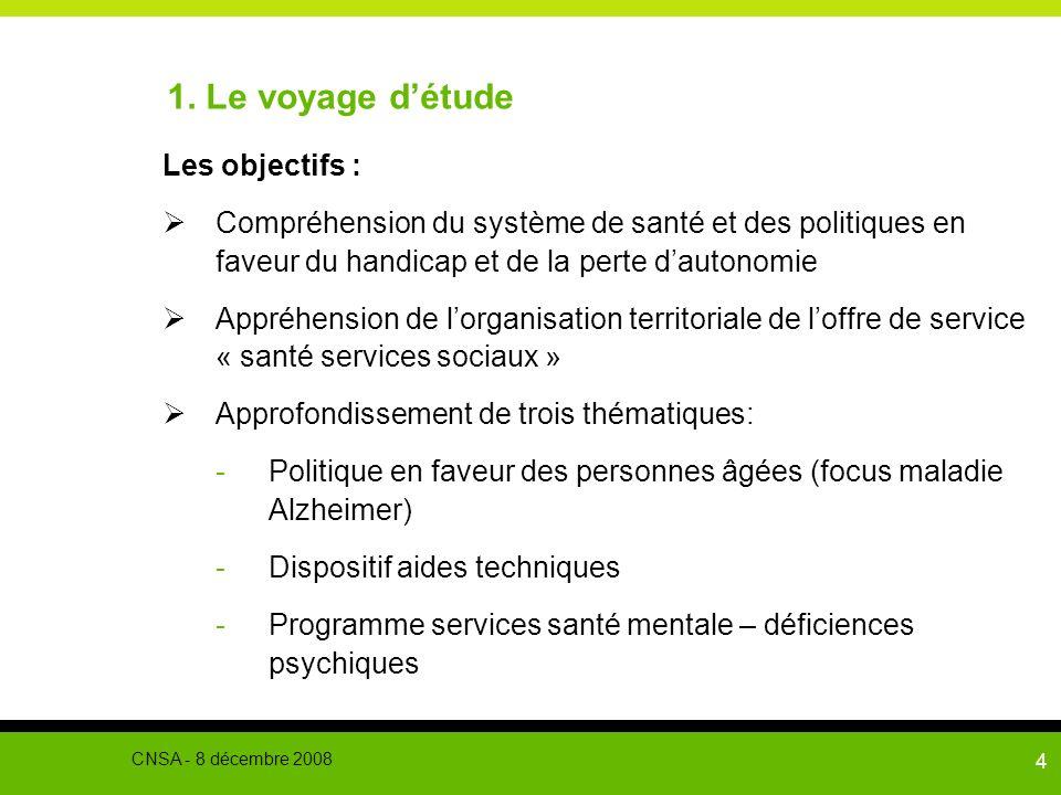 4 1. Le voyage détude Les objectifs : Compréhension du système de santé et des politiques en faveur du handicap et de la perte dautonomie Appréhension