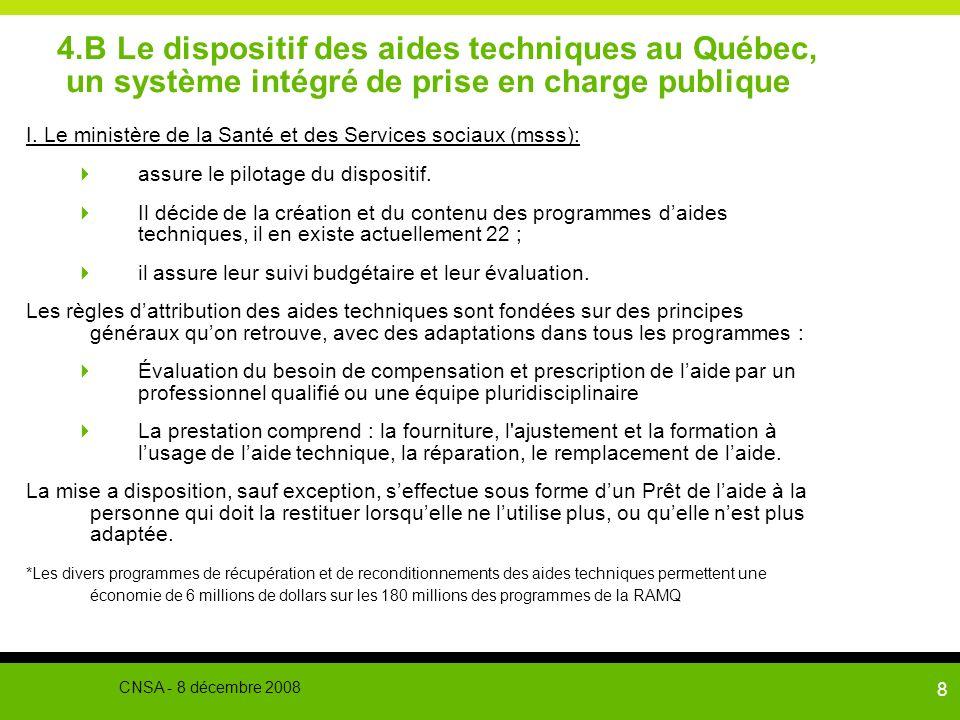 9 4.B Le dispositif des aides techniques au Québec, un système intégré de prise en charge publique II La gestion des programmes est assurée par les fiduciaires 1.La Régie de lassurance maladie du Québec (ramq) est le plus important gestionnaire avec environ 80 % des sommes.