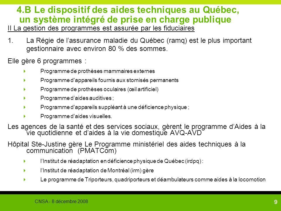 9 4.B Le dispositif des aides techniques au Québec, un système intégré de prise en charge publique II La gestion des programmes est assurée par les fi