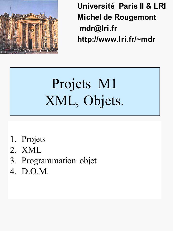 Projets M1 XML, Objets. Université Paris II & LRI Michel de Rougemont mdr@lri.fr http://www.lri.fr/~mdr 1.Projets 2.XML 3.Programmation objet 4.D.O.M.