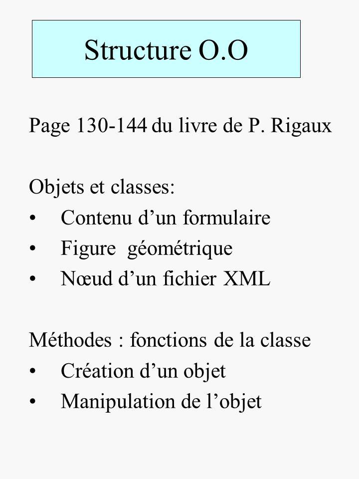 Structure O.O Page 130-144 du livre de P. Rigaux Objets et classes: Contenu dun formulaire Figure géométrique Nœud dun fichier XML Méthodes : fonction
