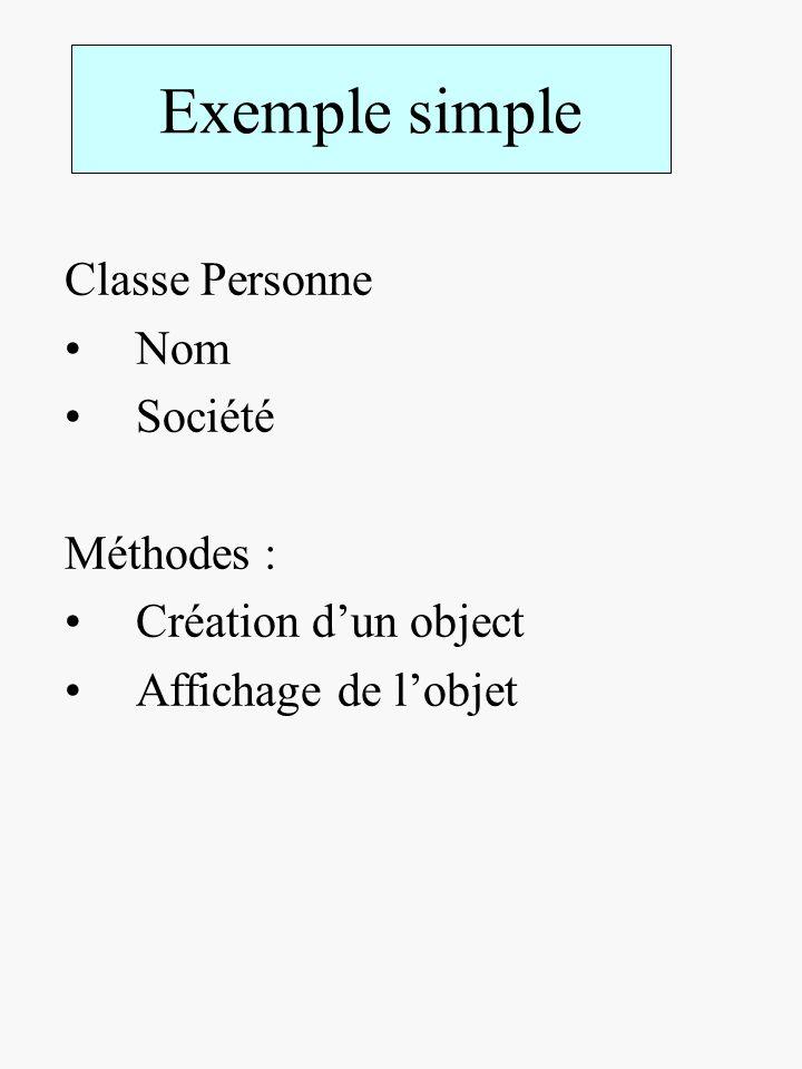 Exemple simple Classe Personne Nom Société Méthodes : Création dun object Affichage de lobjet