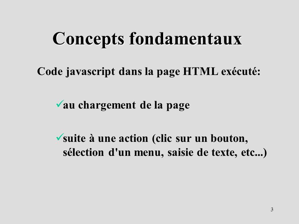 3 Concepts fondamentaux Code javascript dans la page HTML exécuté: au chargement de la page suite à une action (clic sur un bouton, sélection d'un men