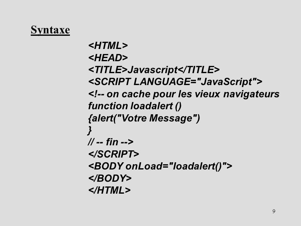 9 Javascript Syntaxe
