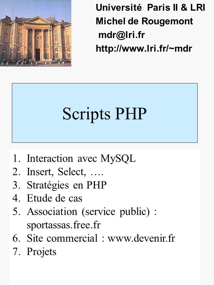 Cas www.devenir.fr 1.Site www.devenir.fr Site de consultants avec documentation darticles Tableau : description des articles et nom du fichier.