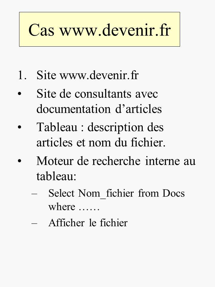 Cas www.devenir.fr 1.Site www.devenir.fr Site de consultants avec documentation darticles Tableau : description des articles et nom du fichier. Moteur