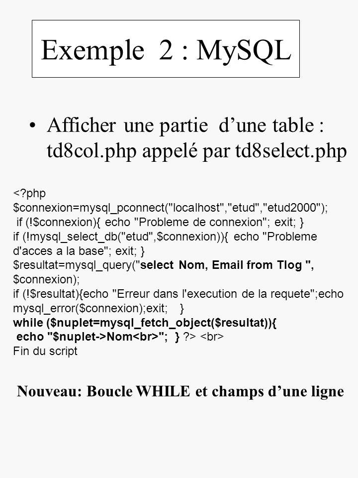 Exemple 2 : MySQL Afficher une partie dune table : td8col.php appelé par td8select.php <?php $connexion=mysql_pconnect(