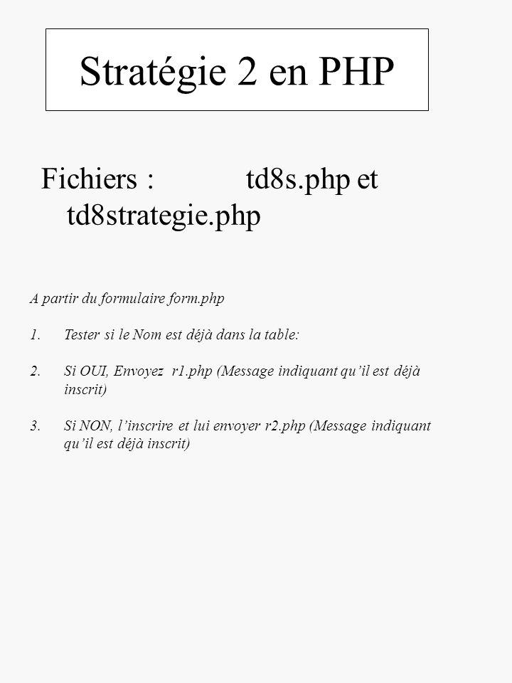 Stratégie 2 en PHP Fichiers : td8s.php et td8strategie.php A partir du formulaire form.php 1.Tester si le Nom est déjà dans la table: 2.Si OUI, Envoye