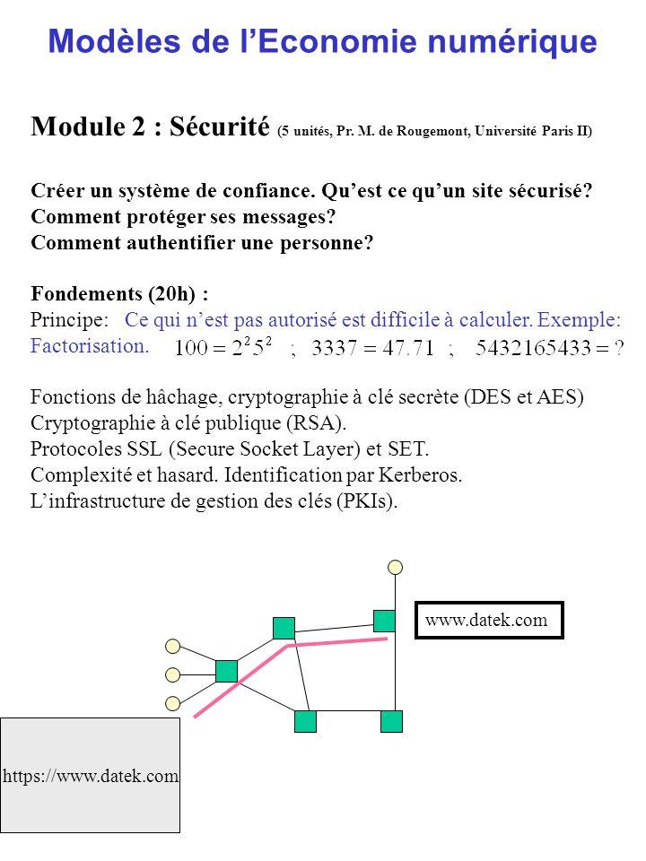 Modèles de lEconomie numérique Module 2 : Sécurité (5 unités, Pr. M. de Rougemont, Université Paris II) Créer un système de confiance. Quest ce quun s